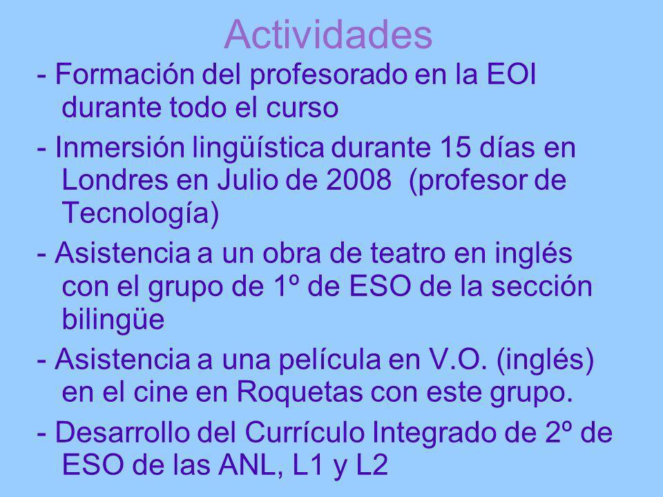 Actividades- Formación del profesorado en la EOI durante todo el curso.