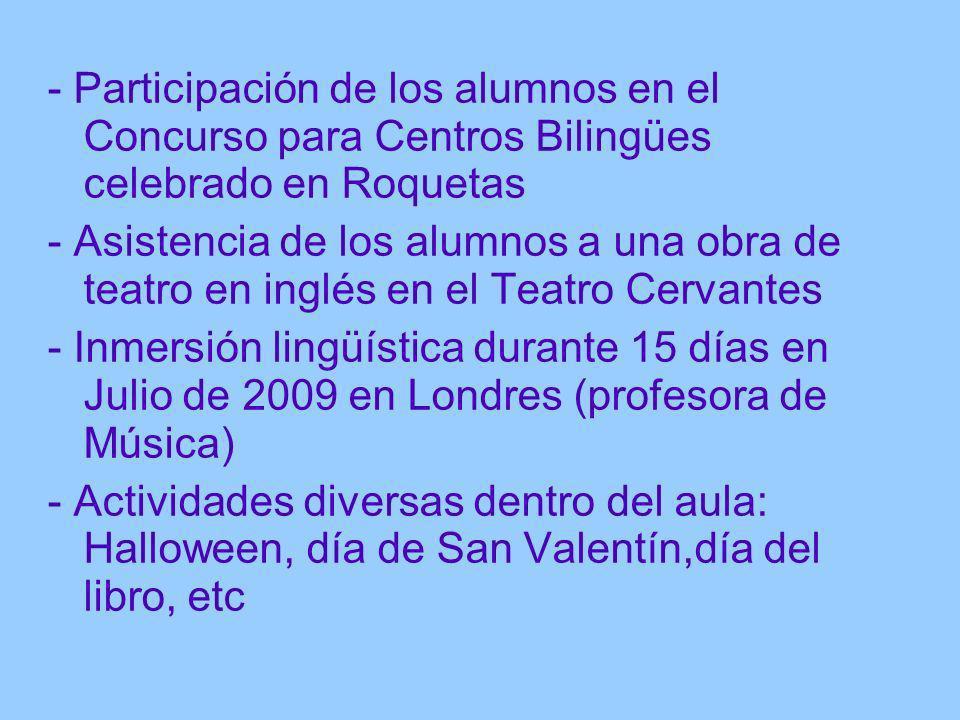 - Participación de los alumnos en el Concurso para Centros Bilingües celebrado en Roquetas
