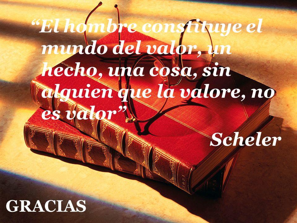 El hombre constituye el mundo del valor, un hecho, una cosa, sin alguien que la valore, no es valor