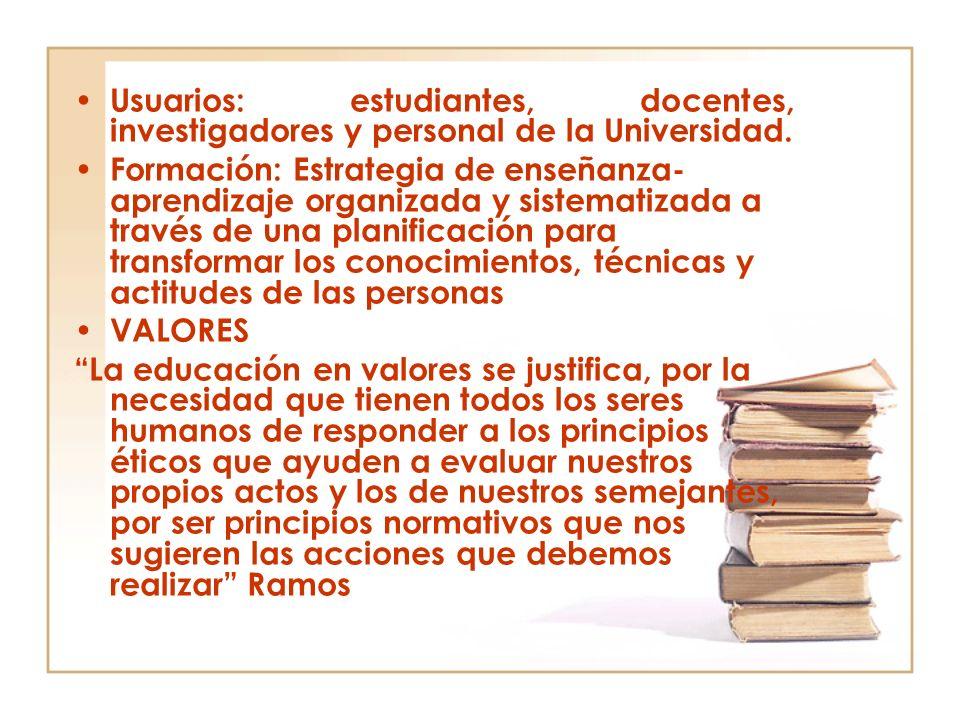 Usuarios: estudiantes, docentes, investigadores y personal de la Universidad.