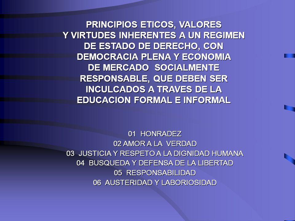 PRINCIPIOS ETICOS, VALORES Y VIRTUDES INHERENTES A UN REGIMEN