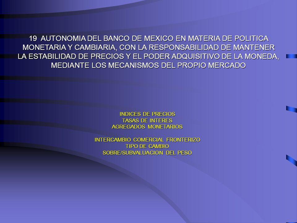 19 AUTONOMIA DEL BANCO DE MEXICO EN MATERIA DE POLITICA
