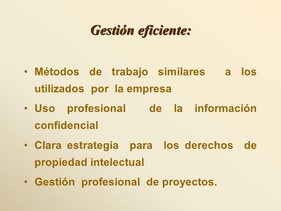 Gestión eficiente: Métodos de trabajo similares a los utilizados por la empresa. Uso profesional de la información confidencial.