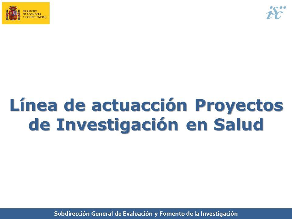 Línea de actuacción Proyectos de Investigación en Salud
