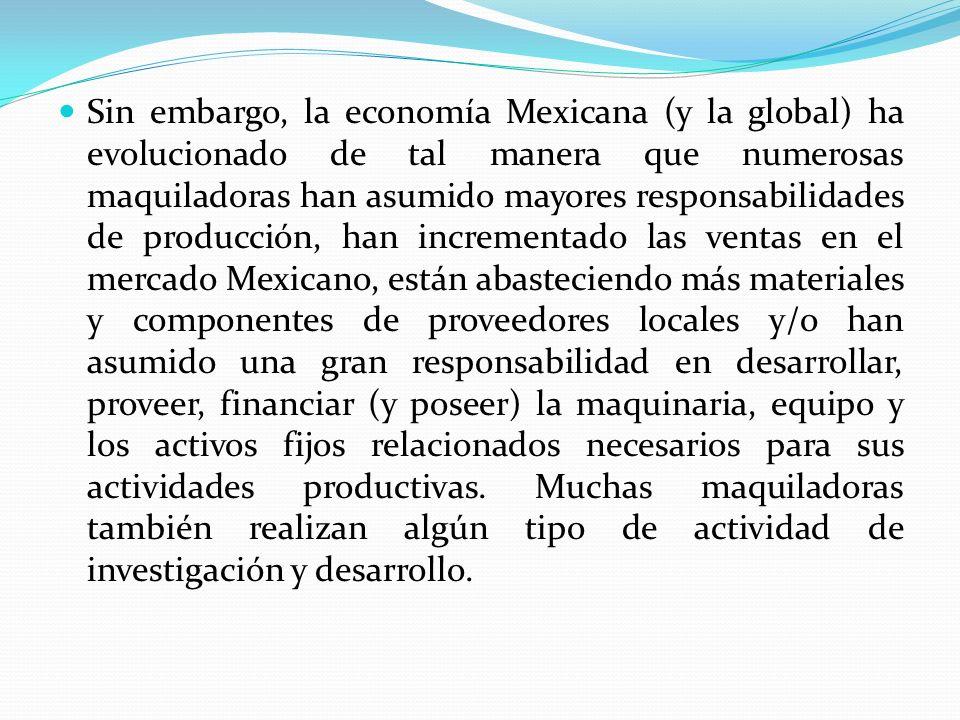 Sin embargo, la economía Mexicana (y la global) ha evolucionado de tal manera que numerosas maquiladoras han asumido mayores responsabilidades de producción, han incrementado las ventas en el mercado Mexicano, están abasteciendo más materiales y componentes de proveedores locales y/o han asumido una gran responsabilidad en desarrollar, proveer, financiar (y poseer) la maquinaria, equipo y los activos fijos relacionados necesarios para sus actividades productivas.