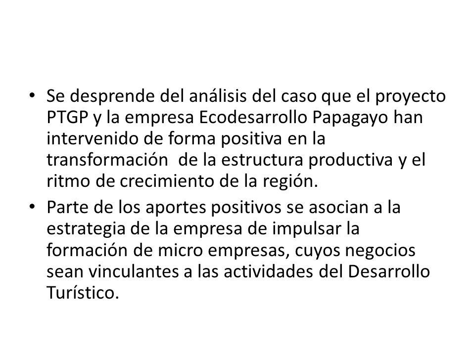 Se desprende del análisis del caso que el proyecto PTGP y la empresa Ecodesarrollo Papagayo han intervenido de forma positiva en la transformación de la estructura productiva y el ritmo de crecimiento de la región.