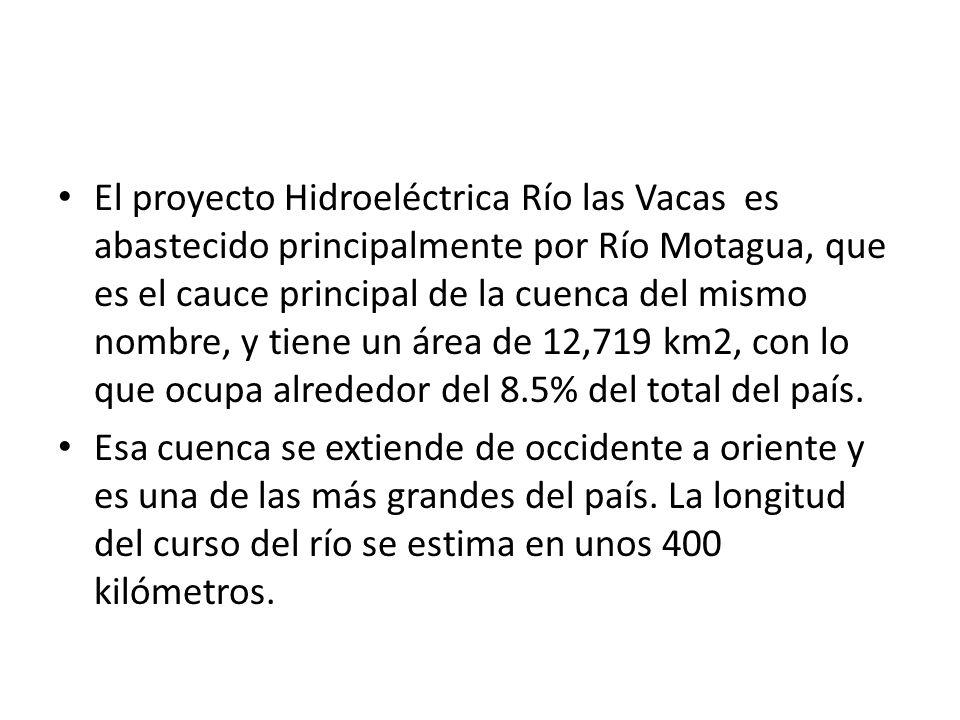 El proyecto Hidroeléctrica Río las Vacas es abastecido principalmente por Río Motagua, que es el cauce principal de la cuenca del mismo nombre, y tiene un área de 12,719 km2, con lo que ocupa alrededor del 8.5% del total del país.