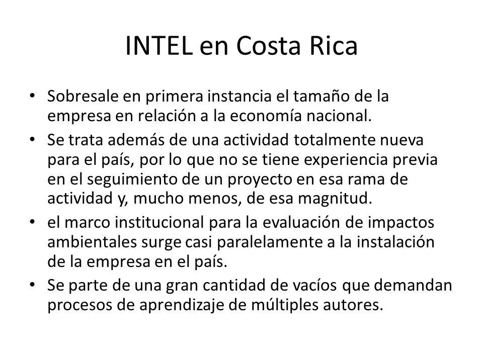 INTEL en Costa RicaSobresale en primera instancia el tamaño de la empresa en relación a la economía nacional.