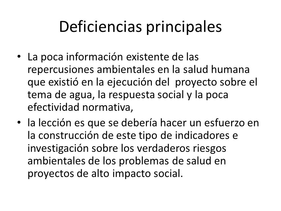 Deficiencias principales
