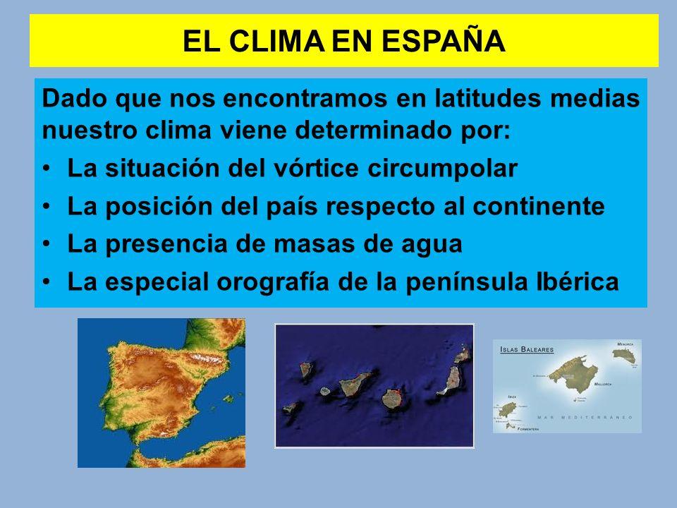 EL CLIMA EN ESPAÑA Dado que nos encontramos en latitudes medias nuestro clima viene determinado por: