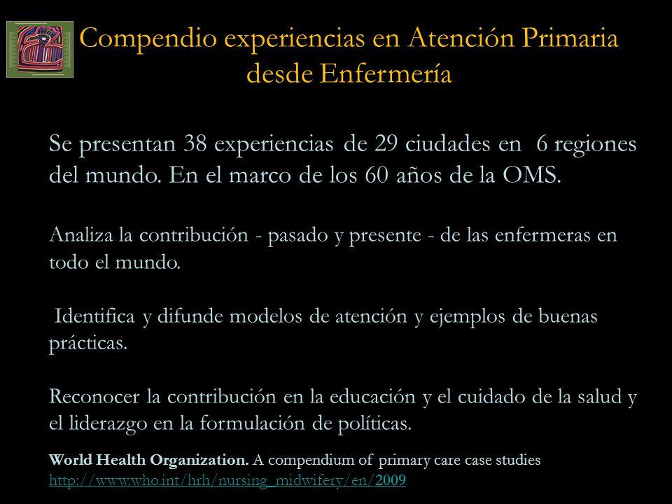 Compendio experiencias en Atención Primaria desde Enfermería