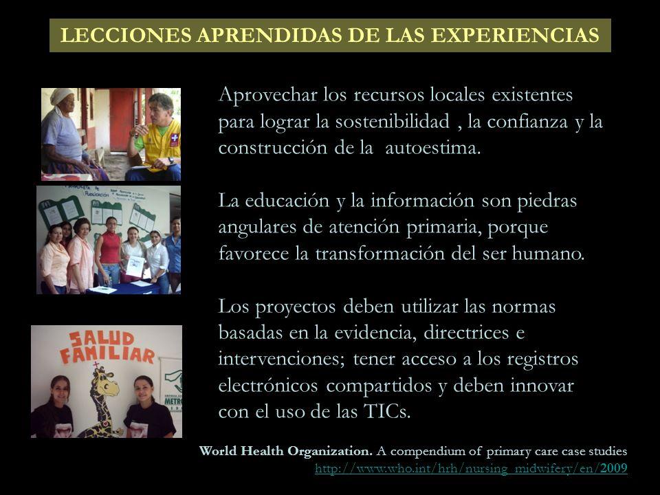LECCIONES APRENDIDAS DE LAS EXPERIENCIAS