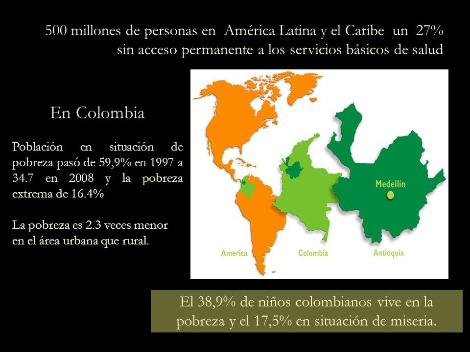 500 millones de personas en América Latina y el Caribe un 27% sin acceso permanente a los servicios básicos de salud