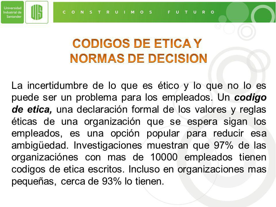 CODIGOS DE ETICA Y NORMAS DE DECISION