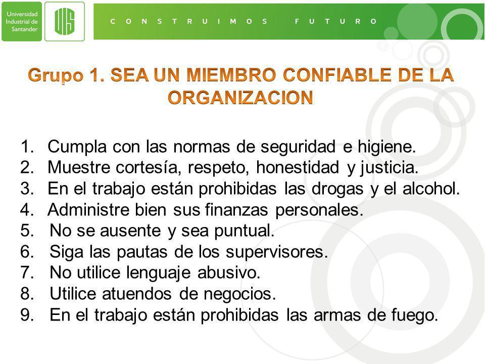 Grupo 1. SEA UN MIEMBRO CONFIABLE DE LA ORGANIZACION