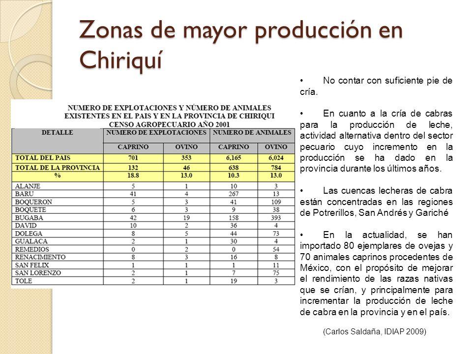 Zonas de mayor producción en Chiriquí