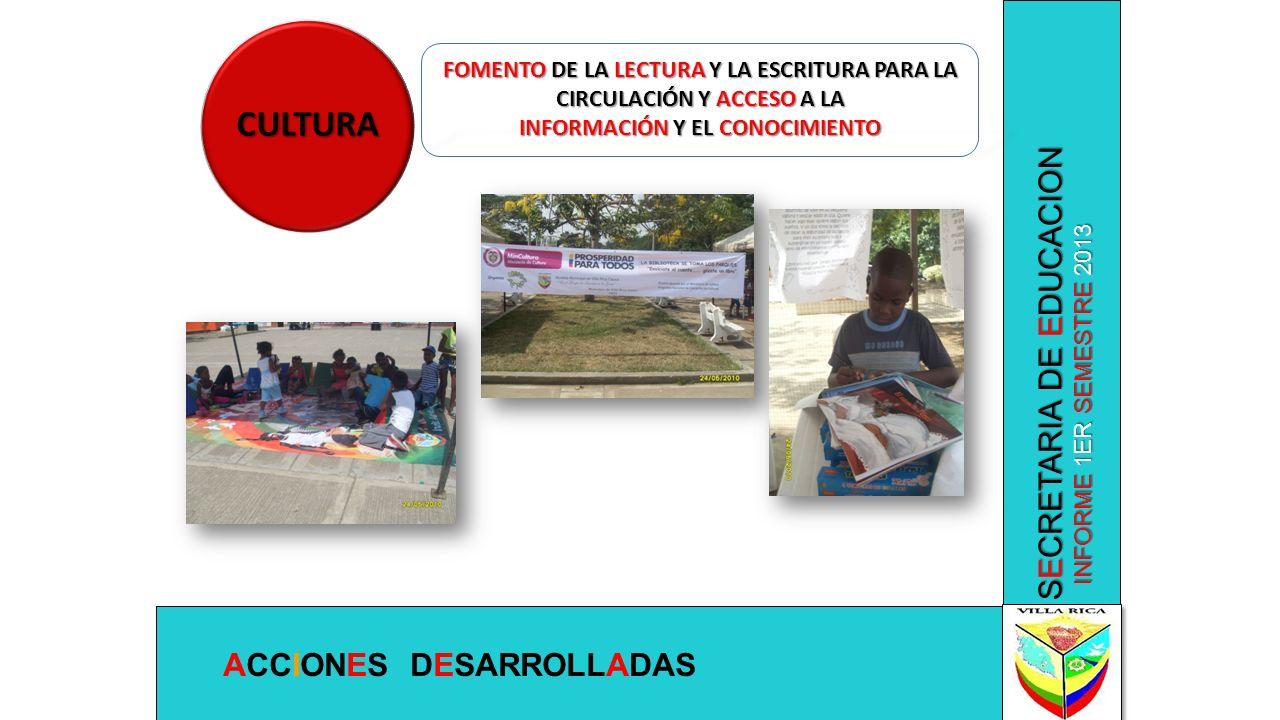 CULTURA SECRETARIA DE EDUCACION ACCIONES DESARROLLADAS
