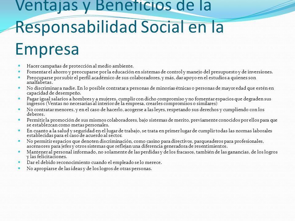 Ventajas y Beneficios de la Responsabilidad Social en la Empresa