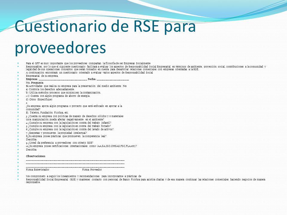 Cuestionario de RSE para proveedores