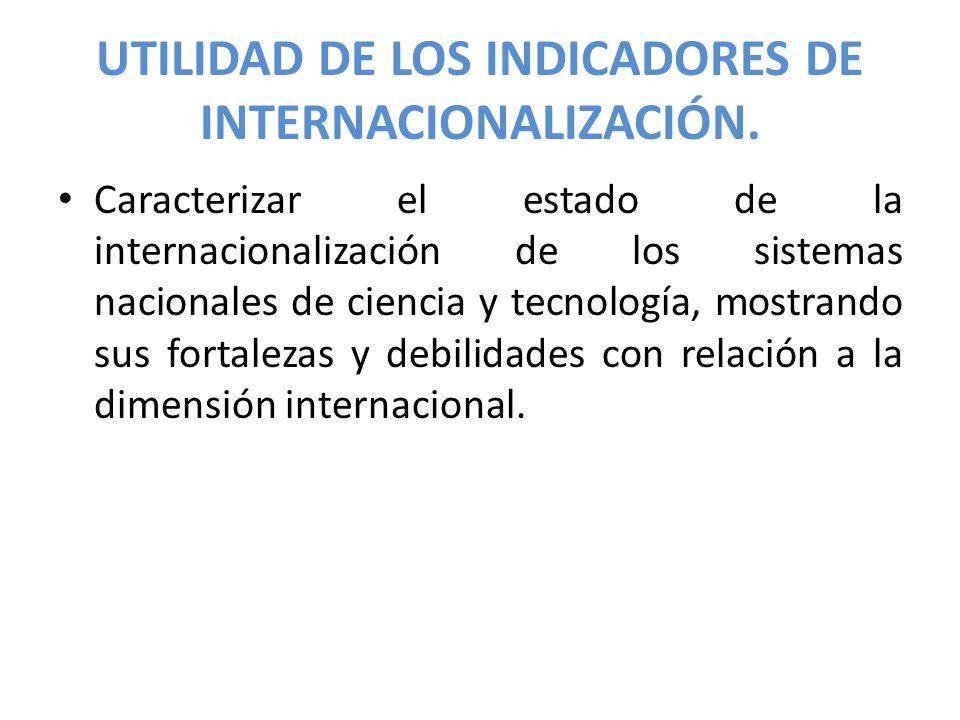 UTILIDAD DE LOS INDICADORES DE INTERNACIONALIZACIÓN.