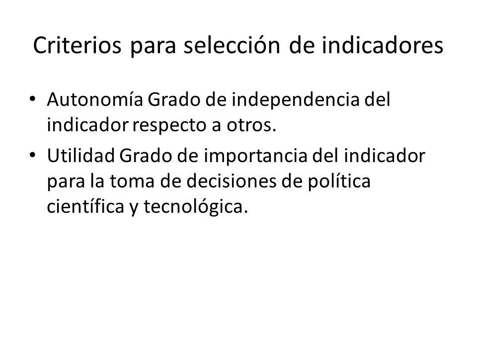 Criterios para selección de indicadores