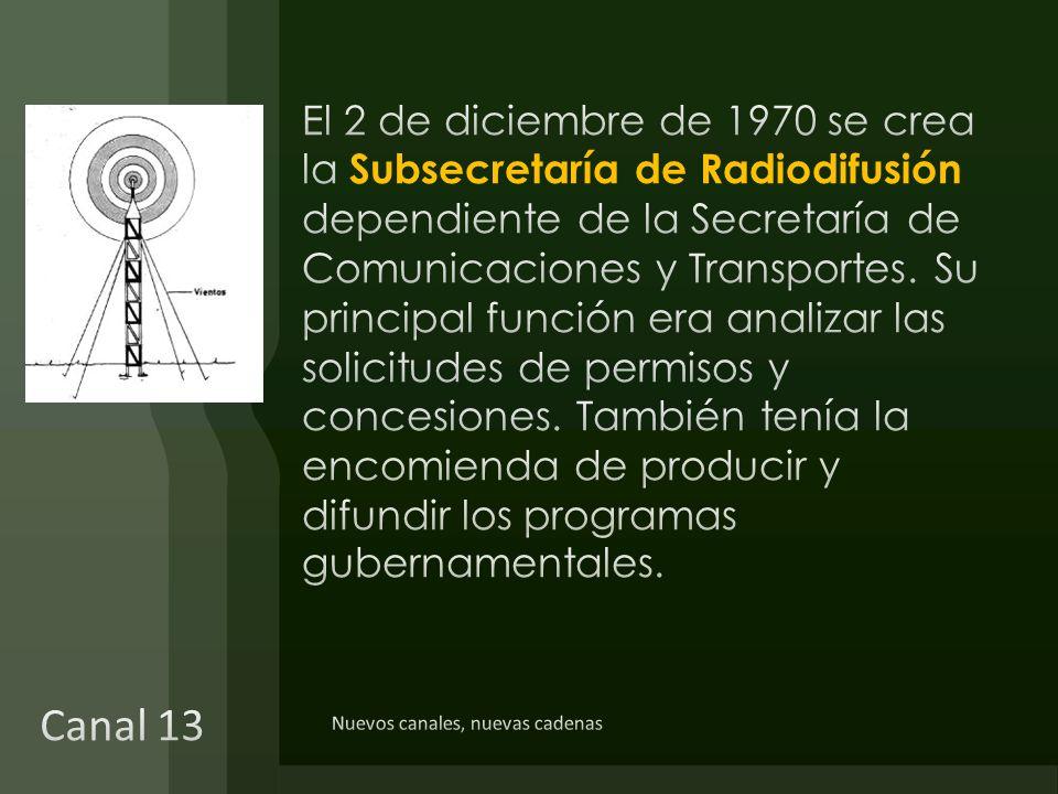 El 2 de diciembre de 1970 se crea la Subsecretaría de Radiodifusión dependiente de la Secretaría de Comunicaciones y Transportes. Su principal función era analizar las solicitudes de permisos y concesiones. También tenía la encomienda de producir y difundir los programas gubernamentales.