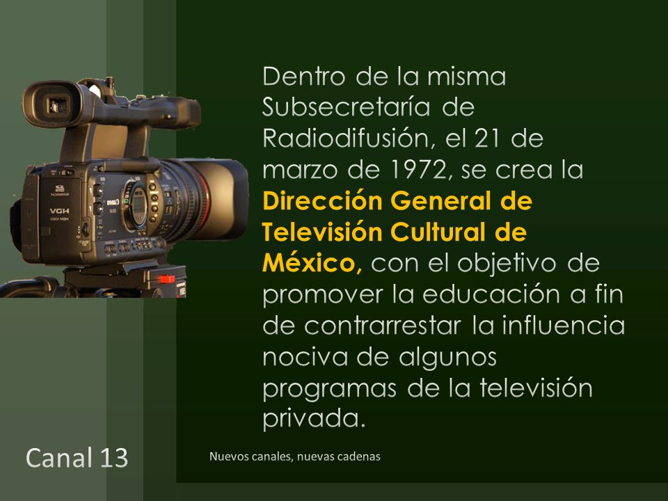 Dentro de la misma Subsecretaría de Radiodifusión, el 21 de marzo de 1972, se crea la Dirección General de Televisión Cultural de México, con el objetivo de promover la educación a fin de contrarrestar la influencia nociva de algunos programas de la televisión privada.