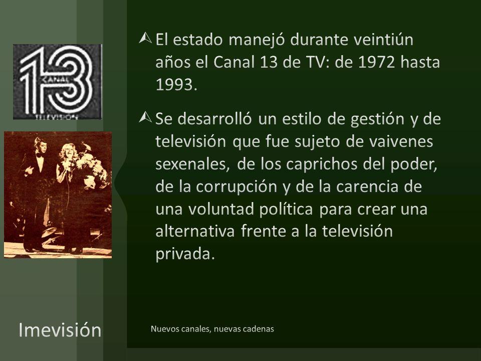 El estado manejó durante veintiún años el Canal 13 de TV: de 1972 hasta 1993.