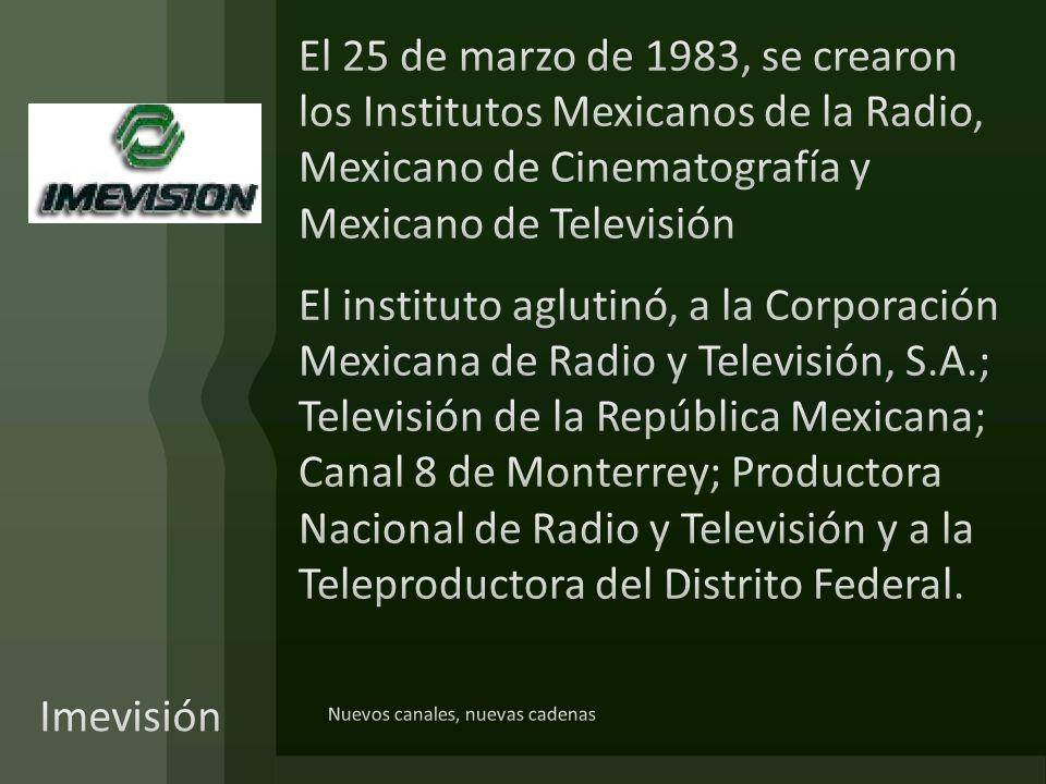 El 25 de marzo de 1983, se crearon los Institutos Mexicanos de la Radio, Mexicano de Cinematografía y Mexicano de Televisión El instituto aglutinó, a la Corporación Mexicana de Radio y Televisión, S.A.; Televisión de la República Mexicana; Canal 8 de Monterrey; Productora Nacional de Radio y Televisión y a la Teleproductora del Distrito Federal.