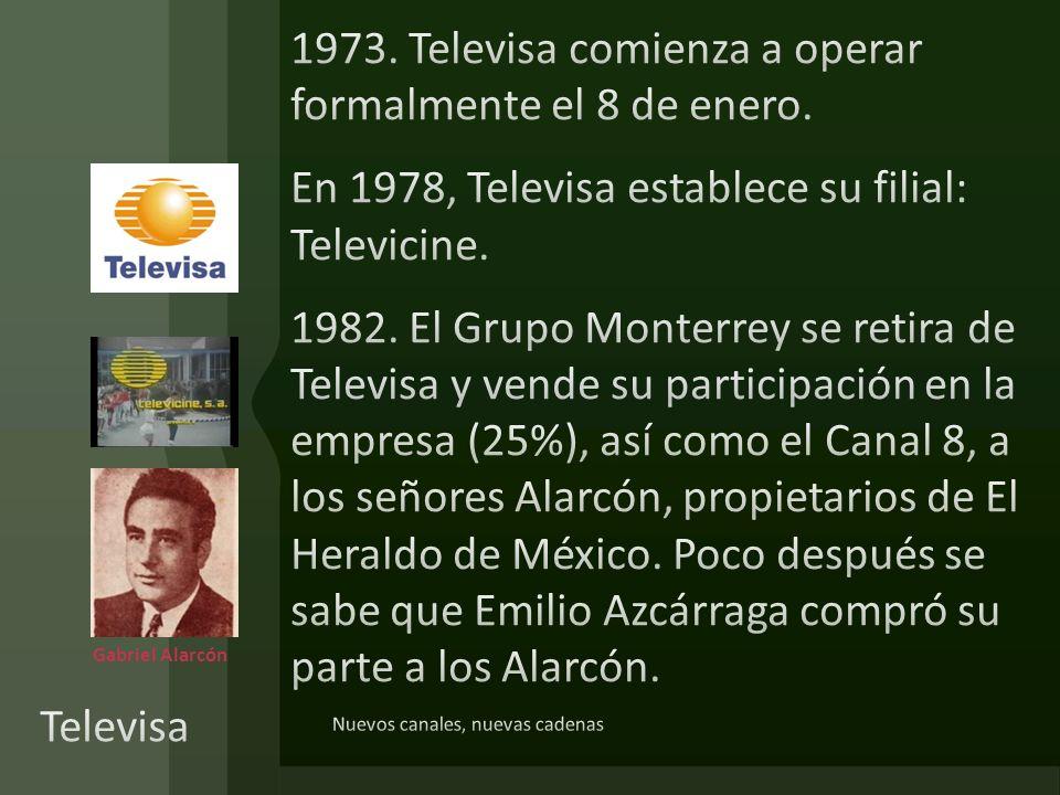 1973. Televisa comienza a operar formalmente el 8 de enero