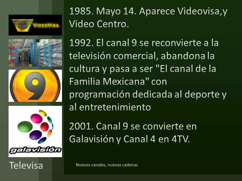1985. Mayo 14. Aparece Videovisa,y Video Centro. 1992