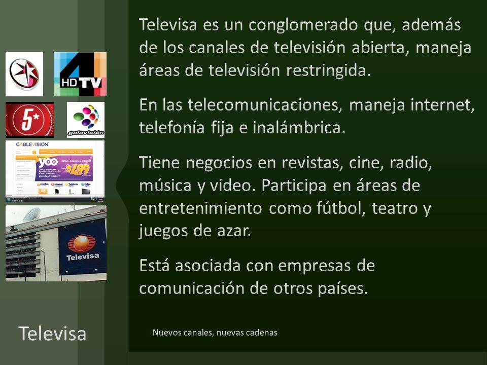 Televisa es un conglomerado que, además de los canales de televisión abierta, maneja áreas de televisión restringida. En las telecomunicaciones, maneja internet, telefonía fija e inalámbrica. Tiene negocios en revistas, cine, radio, música y video. Participa en áreas de entretenimiento como fútbol, teatro y juegos de azar. Está asociada con empresas de comunicación de otros países.