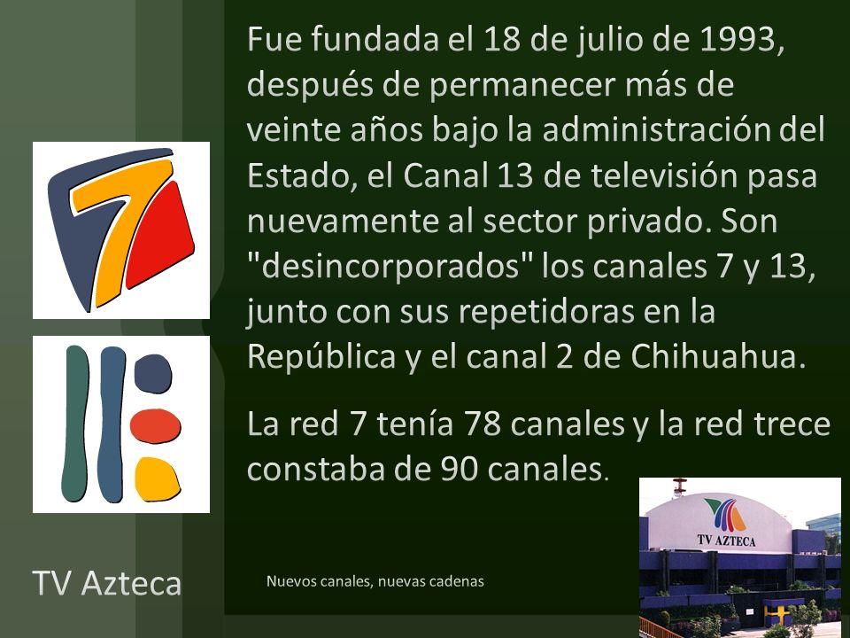 Fue fundada el 18 de julio de 1993, después de permanecer más de veinte años bajo la administración del Estado, el Canal 13 de televisión pasa nuevamente al sector privado. Son desincorporados los canales 7 y 13, junto con sus repetidoras en la República y el canal 2 de Chihuahua. La red 7 tenía 78 canales y la red trece constaba de 90 canales.