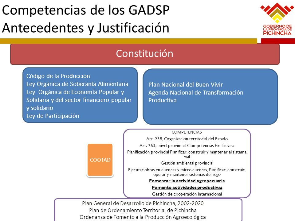 Competencias de los GADSP Antecedentes y Justificación