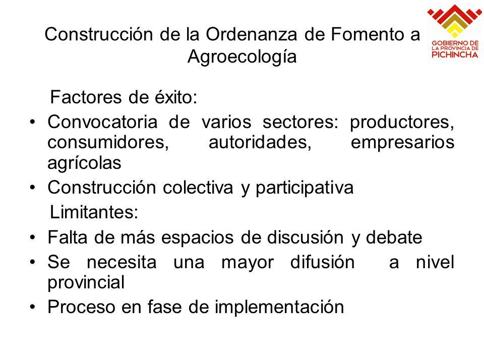 Construcción de la Ordenanza de Fomento a la Agroecología