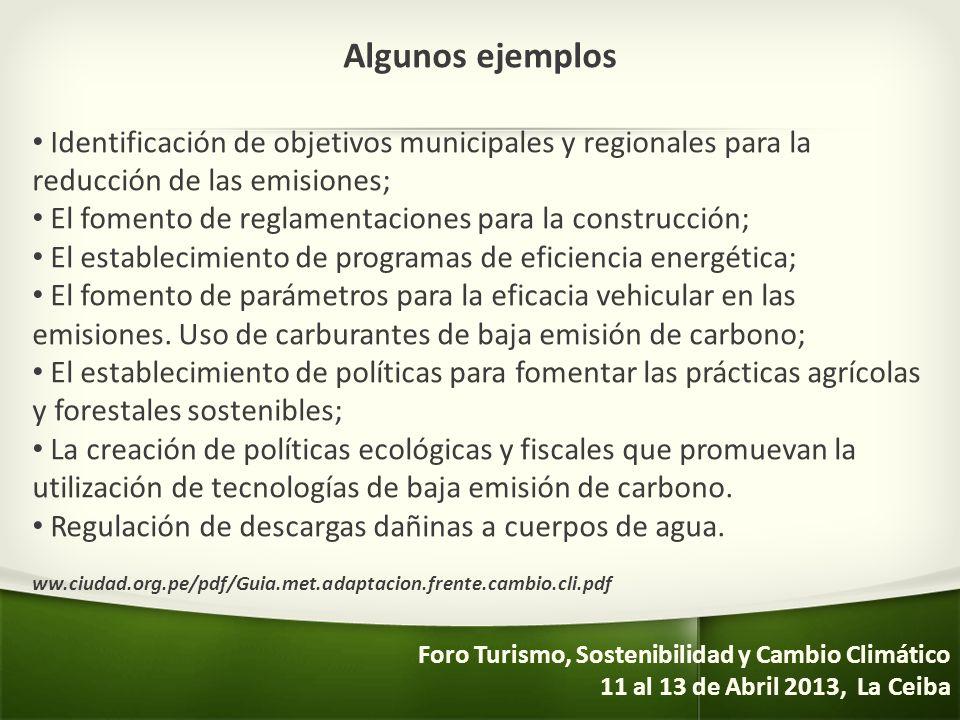 Algunos ejemplos Identificación de objetivos municipales y regionales para la reducción de las emisiones;
