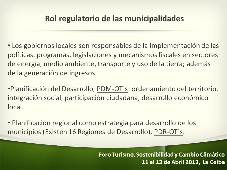 Rol regulatorio de las municipalidades