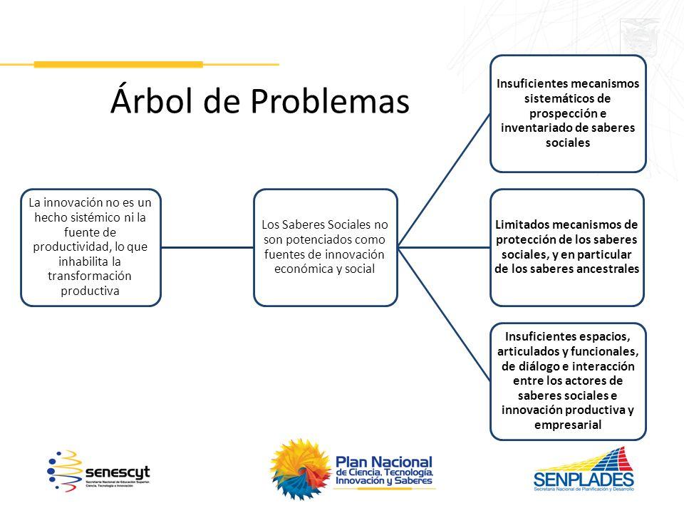 Árbol de Problemas La innovación no es un hecho sistémico ni la fuente de productividad, lo que inhabilita la transformación productiva.
