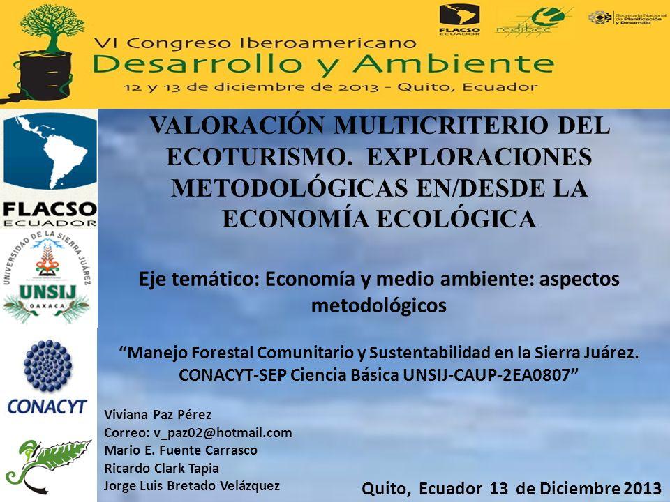 VALORACIÓN MULTICRITERIO DEL ECOTURISMO
