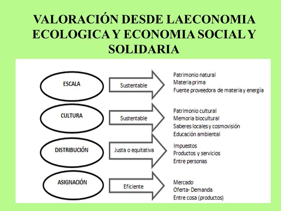VALORACIÓN DESDE LAECONOMIA ECOLOGICA Y ECONOMIA SOCIAL Y SOLIDARIA