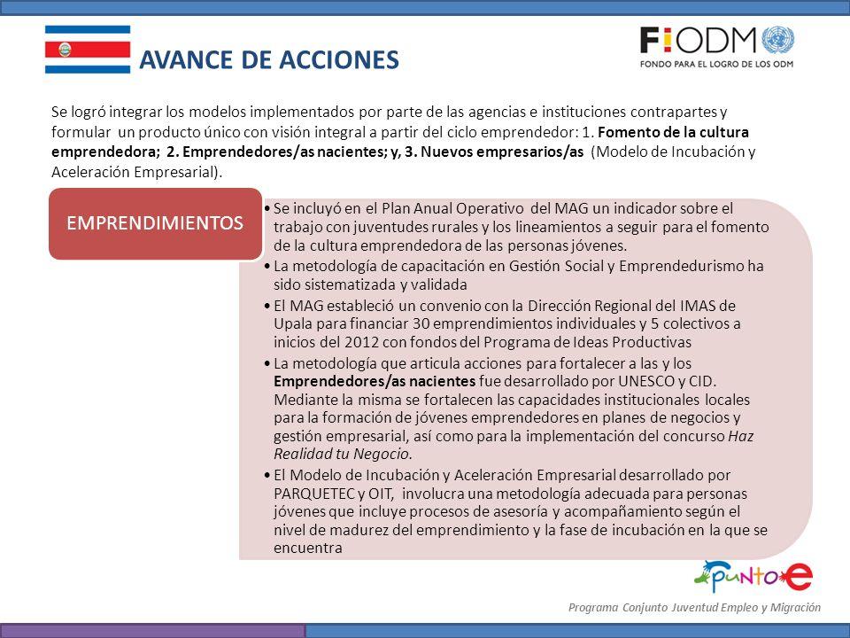 AVANCE DE ACCIONES EMPRENDIMIENTOS