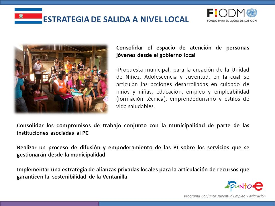 ESTRATEGIA DE SALIDA A NIVEL LOCAL