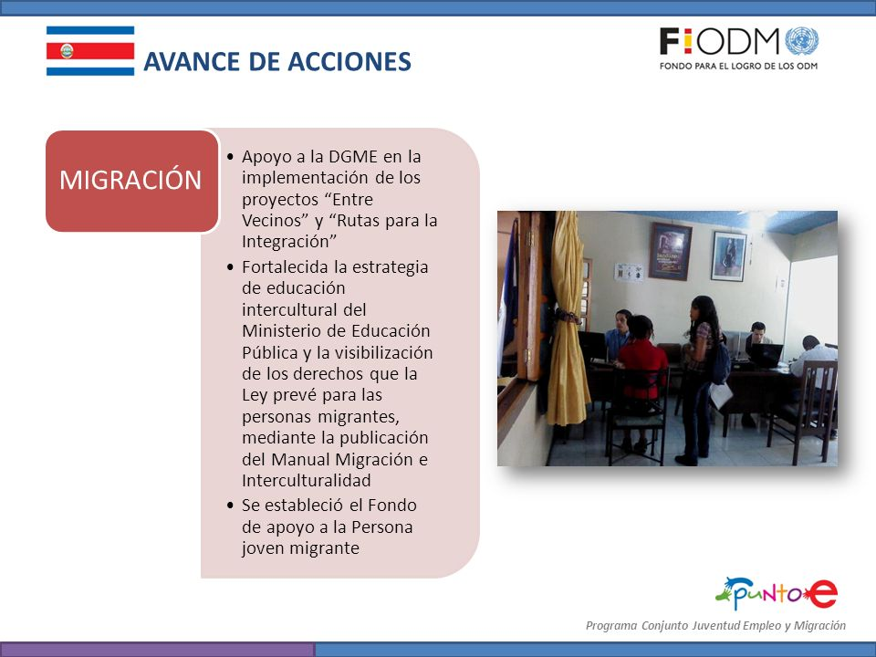 AVANCE DE ACCIONES MIGRACIÓN