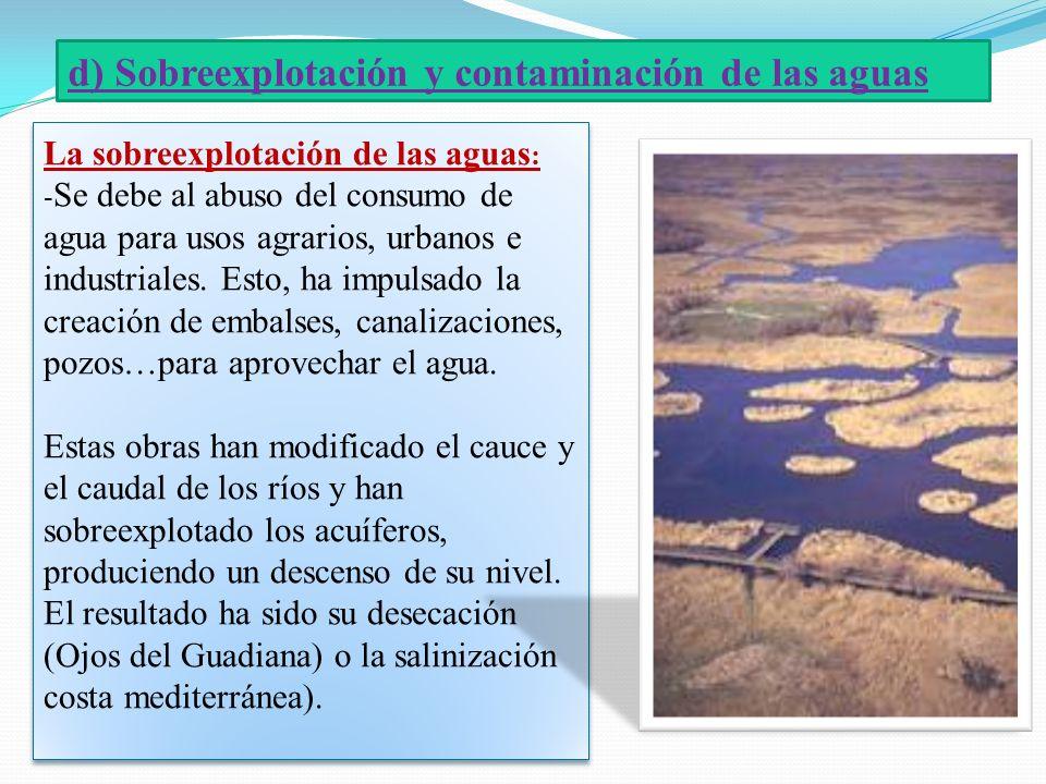 d) Sobreexplotación y contaminación de las aguas
