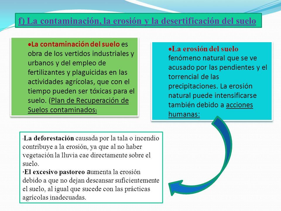 f) La contaminación, la erosión y la desertificación del suelo