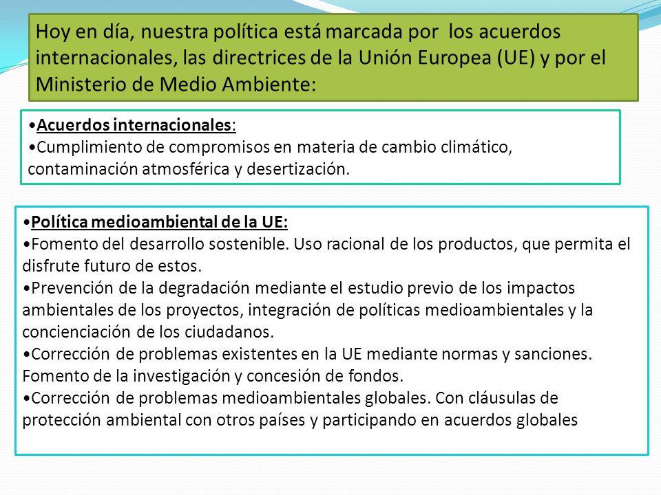 Hoy en día, nuestra política está marcada por los acuerdos internacionales, las directrices de la Unión Europea (UE) y por el Ministerio de Medio Ambiente: