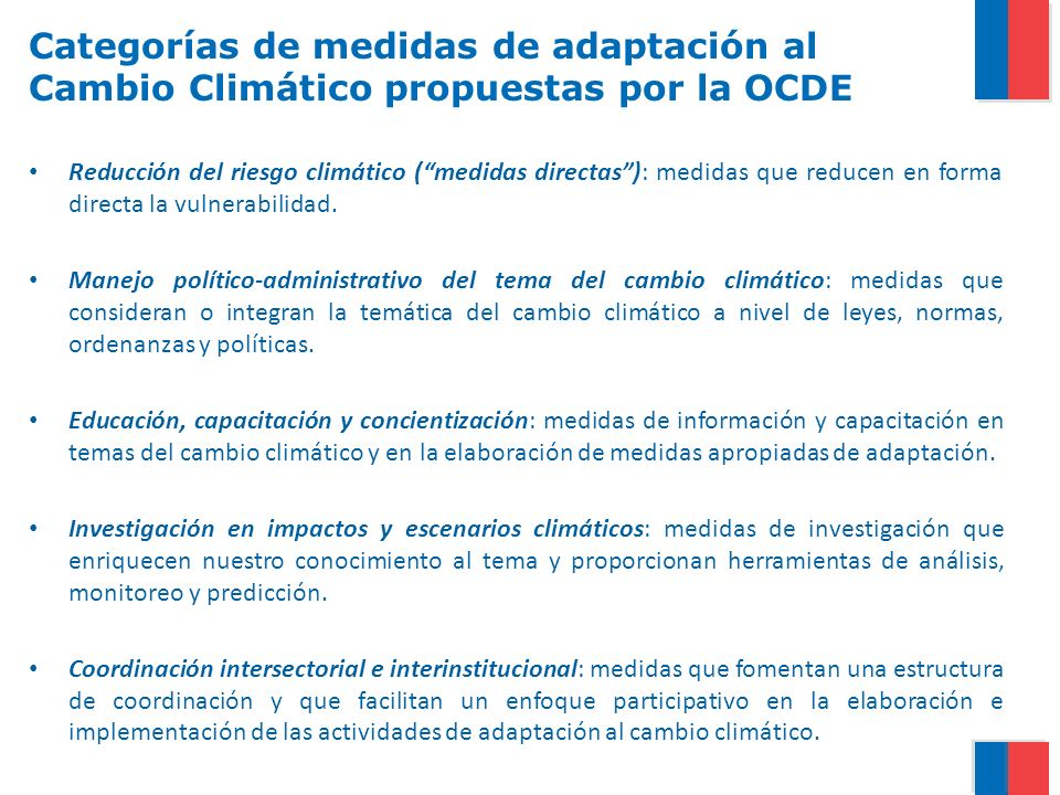 Categorías de medidas de adaptación al Cambio Climático propuestas por la OCDE