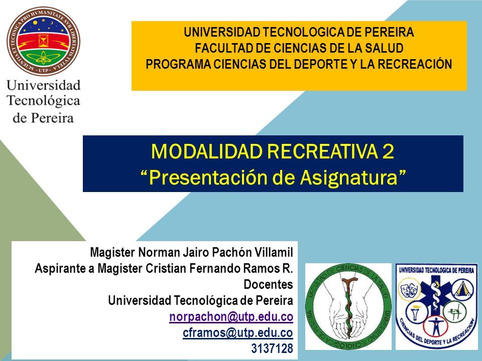 MODALIDAD RECREATIVA 2 Presentación de Asignatura