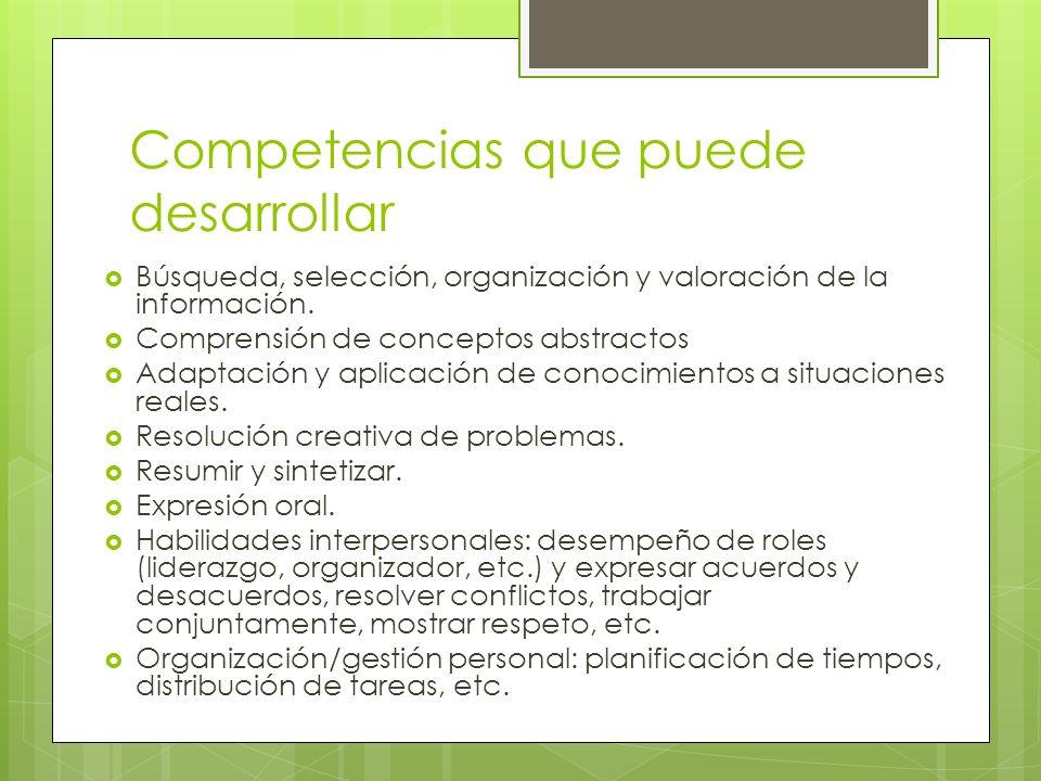 Competencias que puede desarrollar