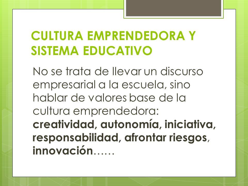 CULTURA EMPRENDEDORA Y SISTEMA EDUCATIVO